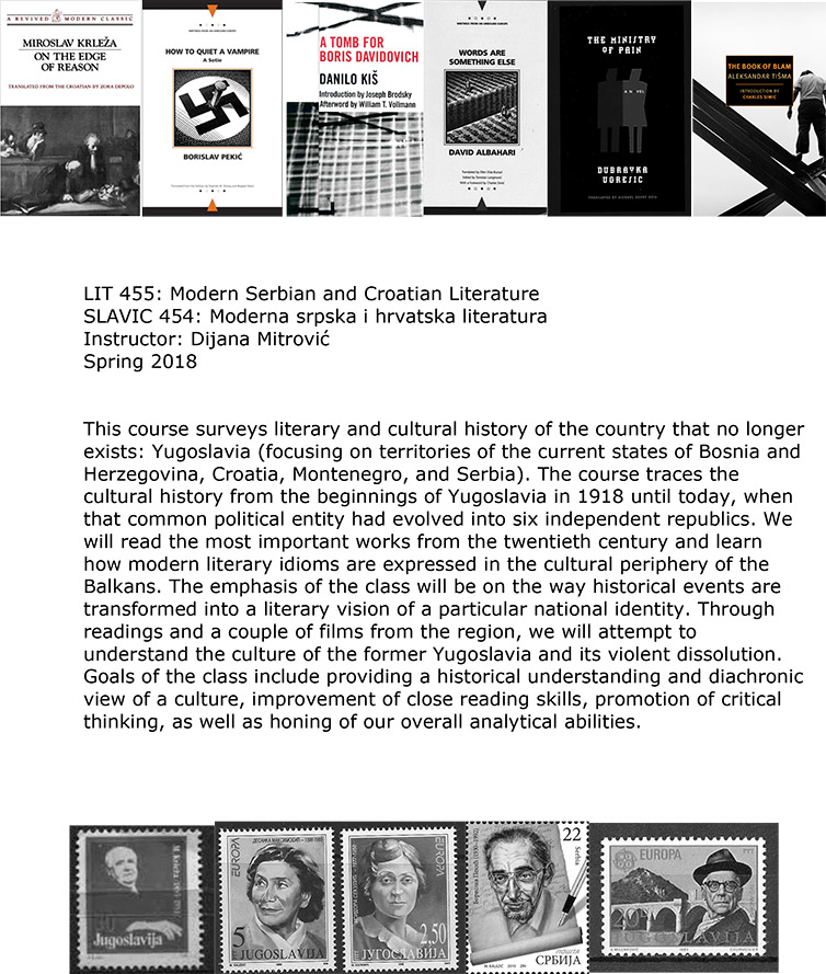 """Flyer for Literature in Translation Course """"Modern Serbian and Croatian Literature"""" taught by Mitrovic"""