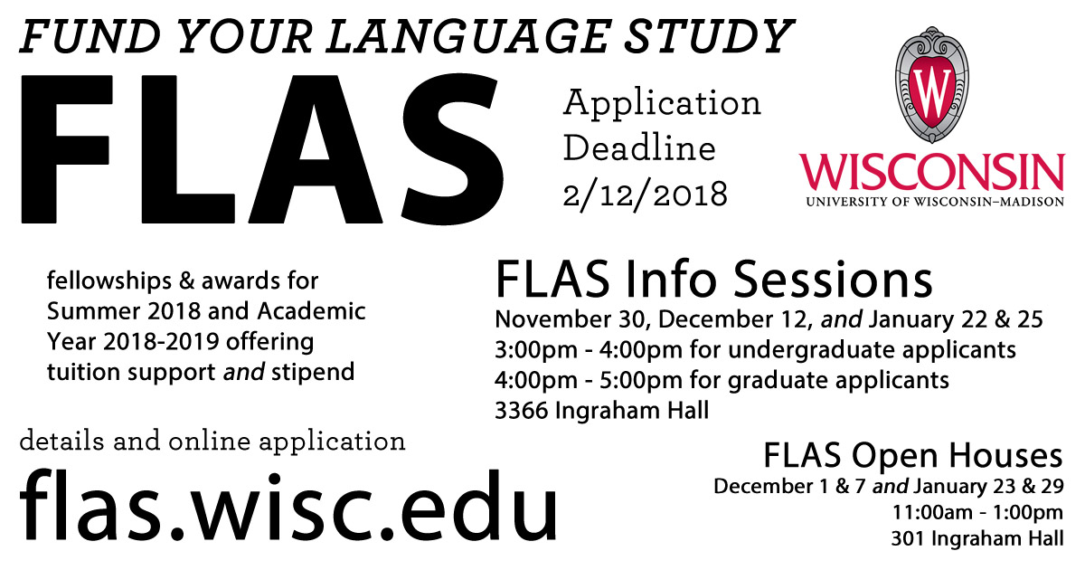 Poster for FLAS award information sessions at UW-Madison