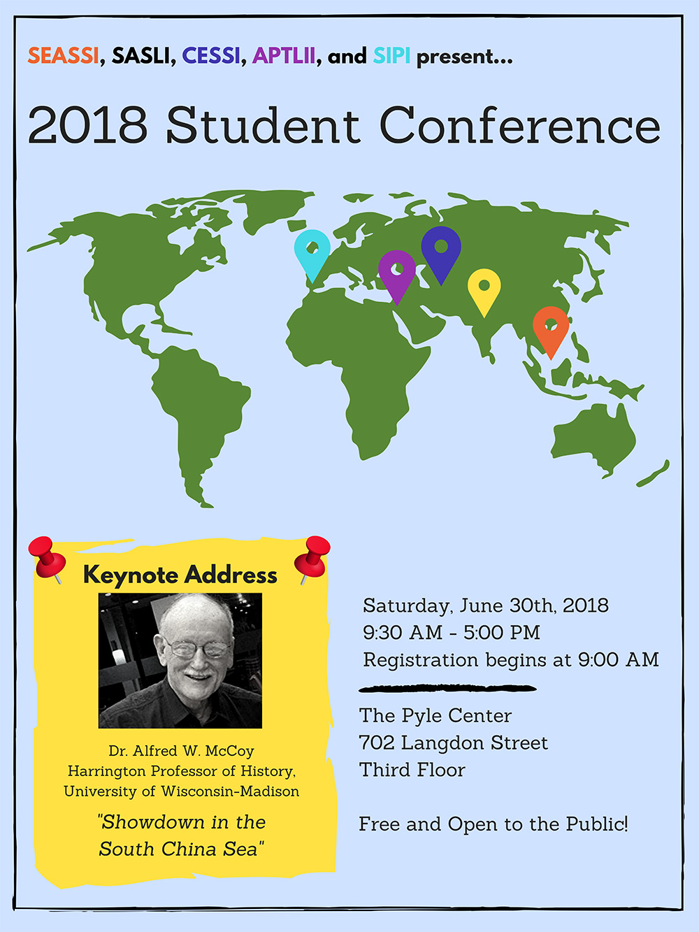 Poster for WISLI conference featuring world map and keynote speaker photo