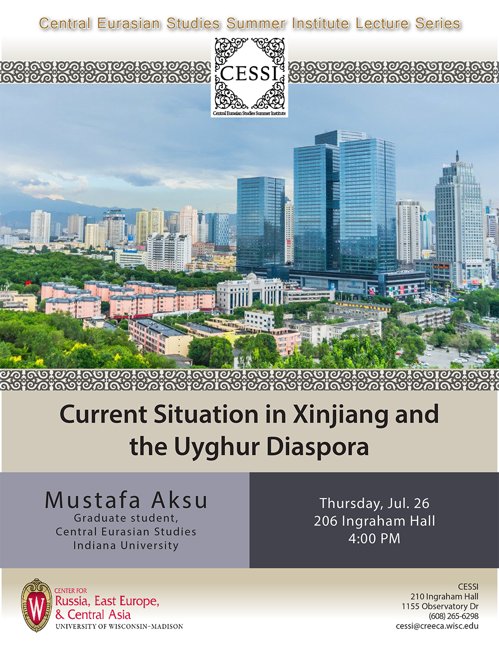 Poster for Aksu lecture featuring generic cityscape