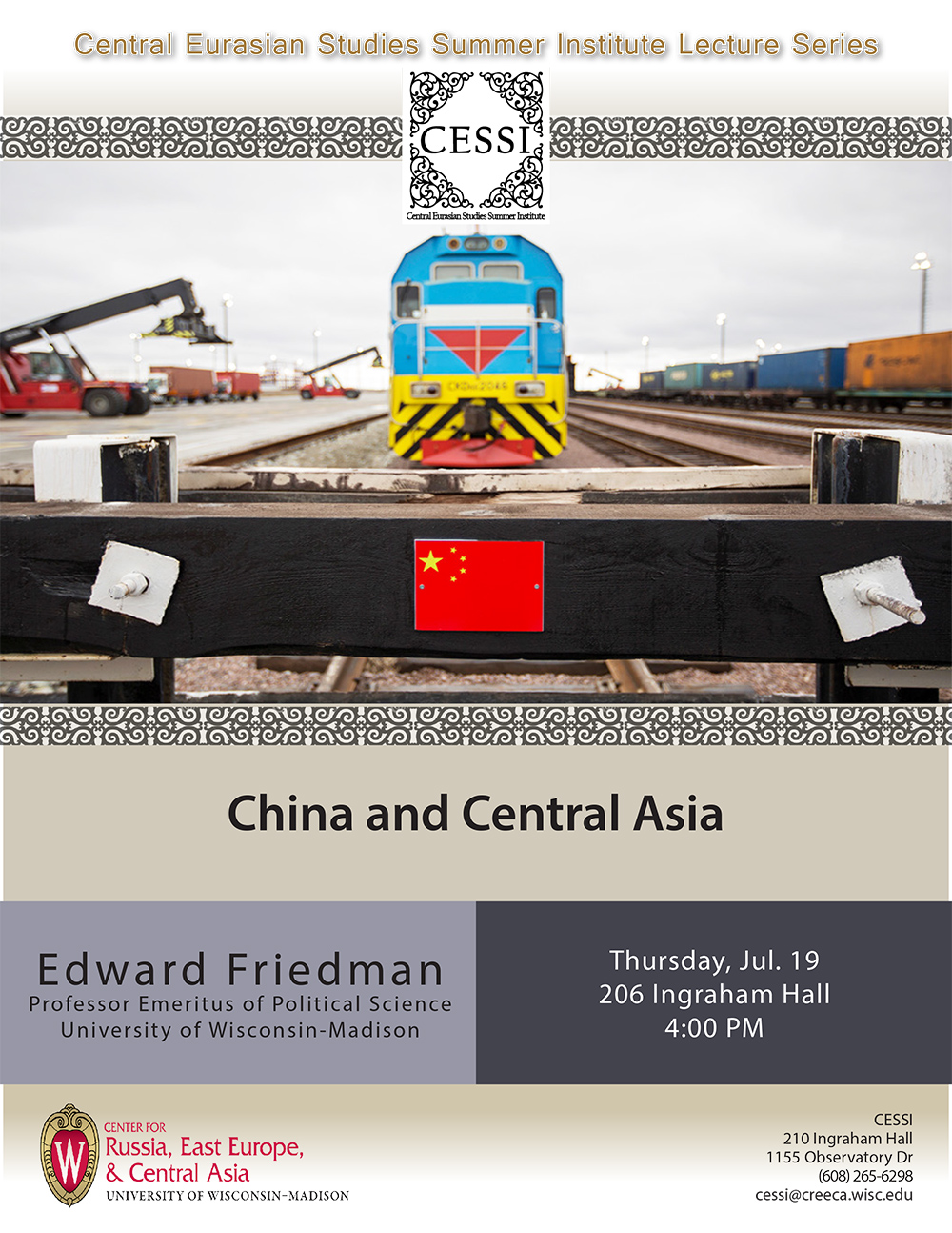 Poster for Friedman lecture featuring train at Khorgos dry port with wooden plank foreground and attached chinese flag