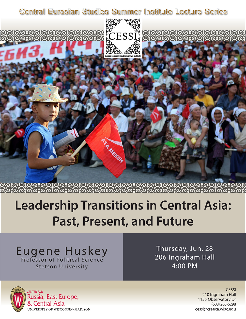 Poster for Huskey lecture featuring little hatted boy holding flag in front of crowd in grandstands