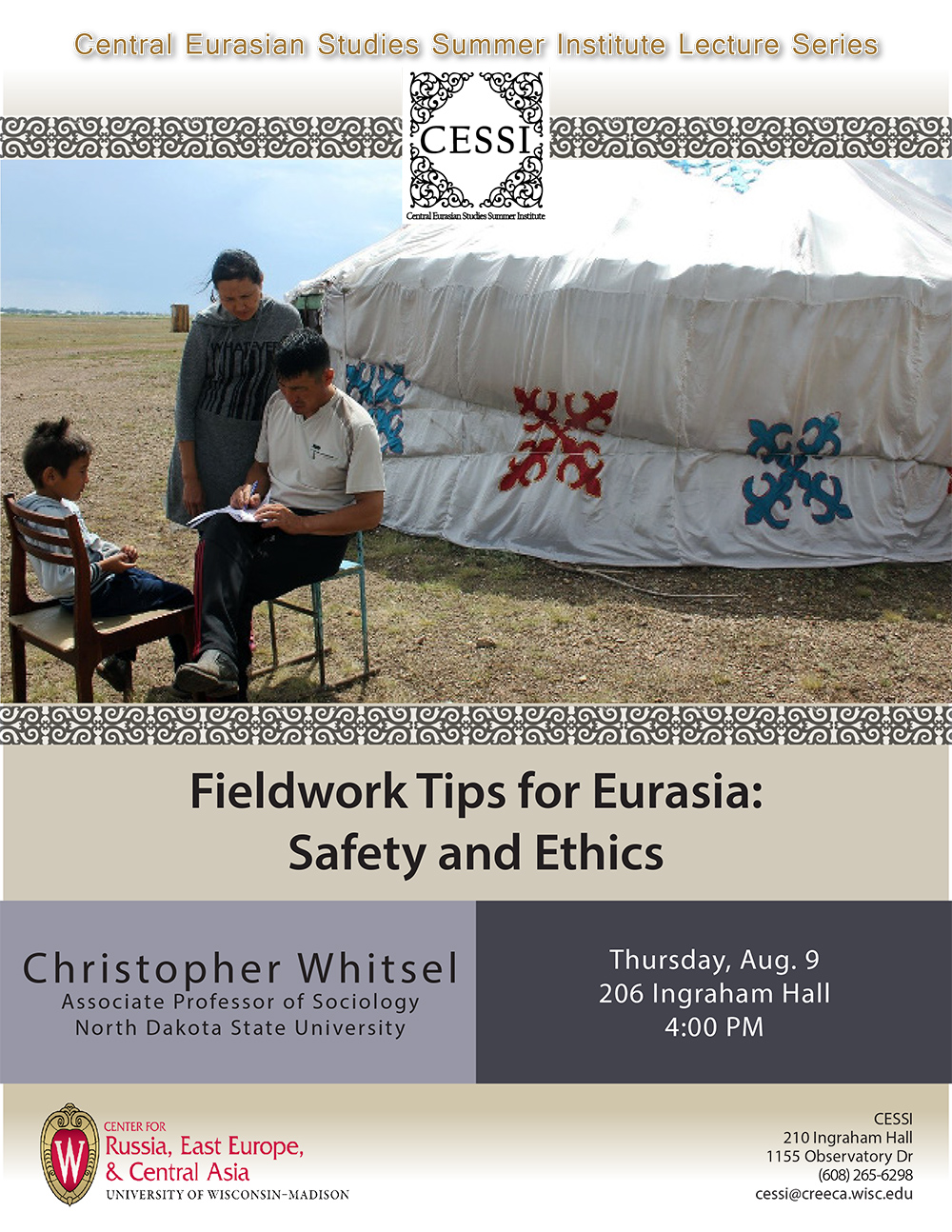 Poster For Whitsel Lecture Featuring Kazakh Family Next To Tent Filling Out  Paperwork