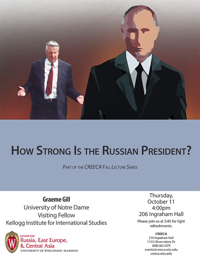 Poster for Gill event with stylized Putin and Yeltsin walking towards camera